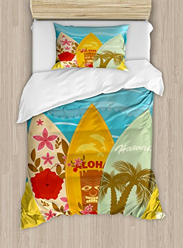 Ambesonne Tiki Bar Duvet Cover Set Twin Size, Hawaiian Beach Surfboards on The Sand Exotic Summer Vacation Sport Vintage Style, Decorative 2 Piece Bedding Set with 1 Pillow Sham, Blue Mustard