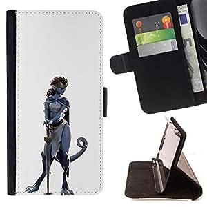 KingStore / Leather Etui en cuir / Samsung Galaxy S3 MINI 8190 / Dinosaurio mujer del guerrero