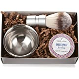 Men's Shaving Kit: 3-Piece Shaving Soap Gift Set with Ultra Rich Soap, Stainless Steel Shave Bowl & Easy-Grip Brush, Light Barber Shop Scent, Handsomely Gift Boxed by Tatum & Shea