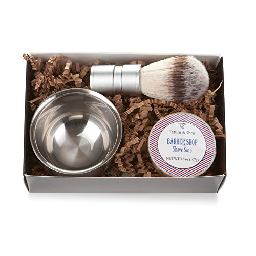 (Men's Shaving Kit: 3-Piece Shaving Soap Gift Set with Ultra Rich Soap, Stainless Steel Shave Bowl & Easy-Grip Brush, Light Barber Shop Scent, Handsomely Gift Boxed by Tatum & Shea)