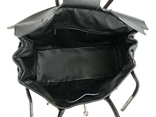 Black Handbag In Women Italy Leather Genuine Made aHwxYqp