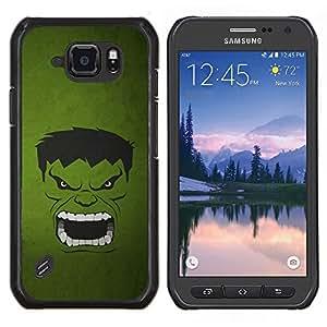 Qstar Arte & diseño plástico duro Fundas Cover Cubre Hard Case Cover para Samsung Galaxy S6Active Active G890A (Monstruo Verde)