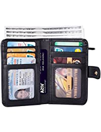 Small Wallets for Women RFID Blocking Leather Bifold, Credit Card Holder, Ladies Mini Wallet with Zipper Coin Pocket, ID Window