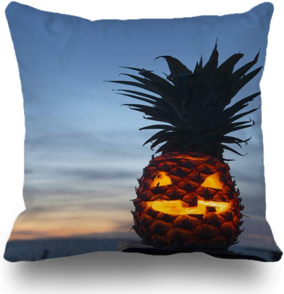 Batmerry Tropical Pillow Covers 18x18 inch,Tropical Halloween Lantern Pineapple Beach Pumpkin Scary Fruit Carved Throw Pillows Covers Sofa Cushion Cover Pillowcase