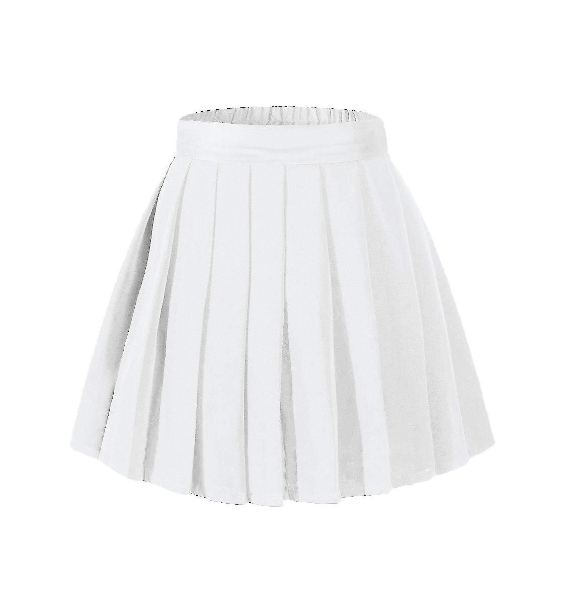 Beautifulfashionlife Women's Plus Size Solid Uniform Skirts with Shorts White,2XL by Beautifulfashionlife