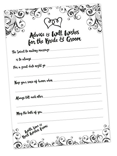 Wedding Advice Cards (50 Count) - Advice and Well Wishes Cards for the Bride and Groom - Bridal Shower Game or Reception Activity - Neutral Black and White - Marriage Advice - Edge Reception Card