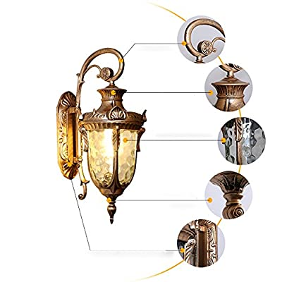 European Outdoor Wall Lamp Waterproof American Villa Retro Aisle Wall Lights Traditional Aluminum Glass E27 Wall Sconce Lanterns Unique Fashion Garden Park Courtyard Streetlight Landscape Lighting