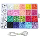 Seed Beads, 3500 PCS Letter Beads and Pony Beads 24-Grid Bead Kit Set Rope Mini Seed Beads Set for Jewelry Making…