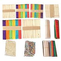 WellieSTR 1700pcs mixed stlye Wooden Craft Sticks Ice Cream Sticks Lollipop Popsicle Stick Craft Match Sticks Sets