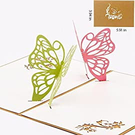 Paper Spiritz Butterfly Flowers Pop up Cards Birthday, Thank You Card for Husband Daughter Wife, Handmade Graduation Sympathy Blank Card Wedding, Laser Cut Gift Card with Envelopes all Occasions 6 Pop Up Card is 3.94*5.91 inches (Folded), comes with ecofriendly paper Solid card stock and elegant envelope give 3D gift card a very high quality look and stay clean Blank inside, you can write your own blessing words, perfect as pop up mothers day, pop up birthday card, pop up holiday card, 3D anniversary card, thank you card, love card, seasons greetings cards, graduation card, christmas cards