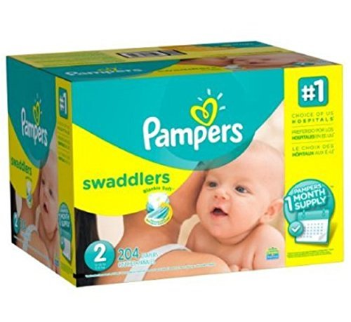 Pampers Swaddlers Diapers, One Month Supply, Size 2, 204 Count, 12-18lbs, New!!! by Gravitymystore