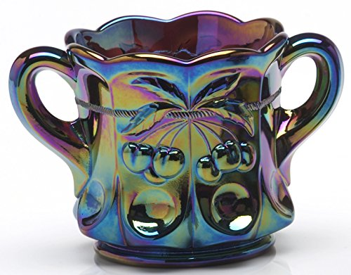 Sugar Bowl - Cherry & Cable Pattern - Mosser Glass USA (Black Amethyst Carnival) (Creamer Glass Pattern)