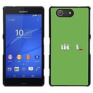 Sony Xperia Z3 Compact / Z3 Mini (Not Z3) - Metal de aluminio y de plástico duro Caja del teléfono - Negro - Cannibal Bunny Rabbits - Funny