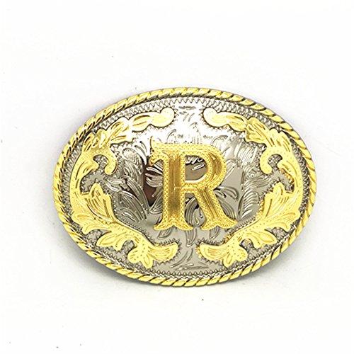 Unisex Adult Alphabet Letter Oval Western Belt Buckle (One Size, Golden(R)) (Alphabet Letter)