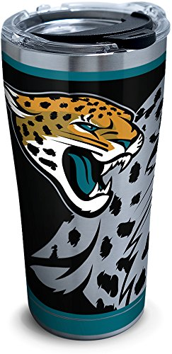 Tervis 1299992 NFL Jacksonville Jaguars Rush Stainless Steel Tumbler With Lid, 20 oz, Silver