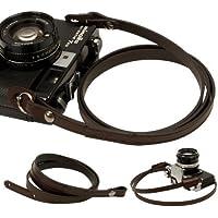 Dark brown whole leather Camera neck shoulder strap for Film SLR DSLR RF Leica Digital