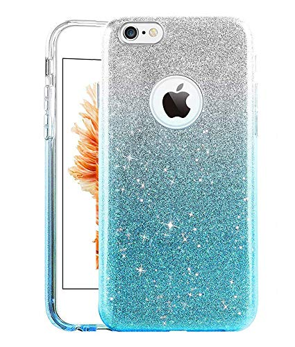 UnnFiko iPhone 8 Plus Case, Cute Luxury Hybrid Bling Glitter Silicone Rubber Gel Shiny Sparkling with Candy Back Plate Cover Case for iPhone 8 Plus (iPhone 8 Plus, Blue)