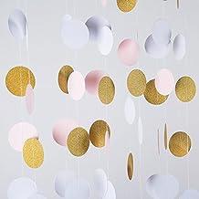 MOWO Glitter Paper Garland Circle Dots Hanging Decor,2'' Diameter,9.8-feet(gold glitter/pink/white,2pc)