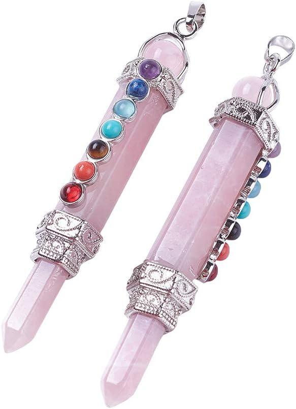 CHGCRAFT Sobre 3pcs Chakra Jewelry Colgantes de Cuarzo Rosa Natural con Fornituras de Latón Y Prismáticos Hexagonales de Piedra Mixta Sintética Natural Encantos para Hacer Joyas de Bricolaje