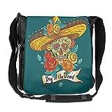 Lovebbag Mexican Festive Hat Skull With Roses Print Crossbody Messenger Bag