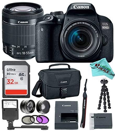 Canon EOS Rebel T7i / 800D DSLR Camera with 18-55mm Lens & 32GB + Premium Liquid Deals Accessory Bundle
