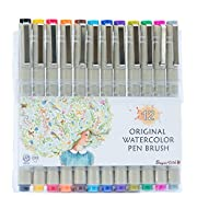 Amazon Lightning Deal 80% claimed: Colored Brush Pens by Buyartosh: 12 Water Based Markers with Flexible Tips and Caps plus Case and Ebook for Coloring, Writing, Sketching, and Drawing