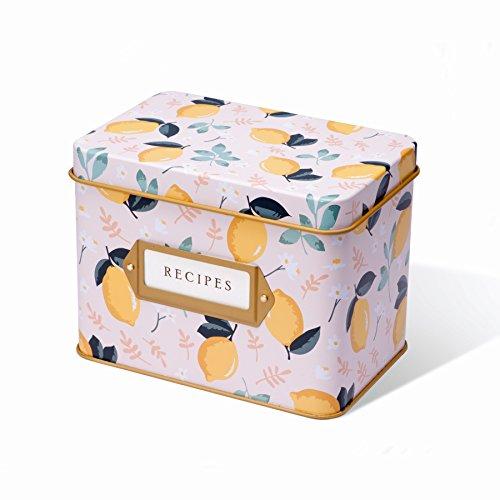 Tin Recipe Box - Jot & Mark Recipe Card Complete Gift Box | Decorative Tin Box, Recipe Cards, Index Dividers (14 dividers, 50 4