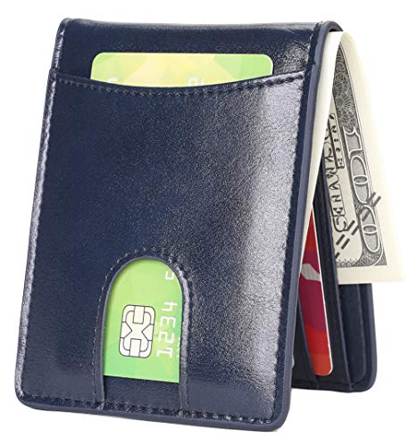 Mens Slim Front Pocket Wallet ID Window Card Case with RFID Blocking - Blue with Quick Slot