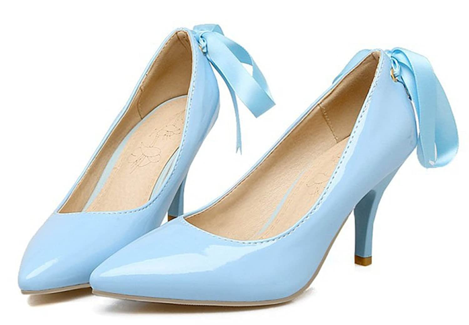 SHOWHOW Damen Lack Kunstleder Spitz Stiletto Pumps Blau 37 EU