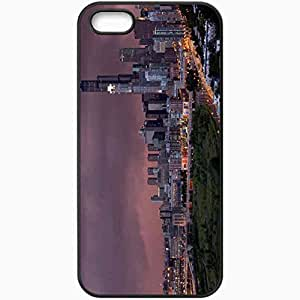 Protective Case Back Cover For iPhone 5 5S Case Building Home Road Light Sky Black