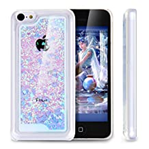 Hard Plastic Case for Iphone 5C,3D Dynamic Floating Luxury Bling Glitter Sparkle Love Heart Glitter Sparkly Quicksand Liquid Infused with Glitter and Stars Dual Layer Hybrid Clear Bumper Double Protection Transparent Plastic Hard Case Shell Hard Back Case for Apple iPhone 5C(Love Heart Blue)