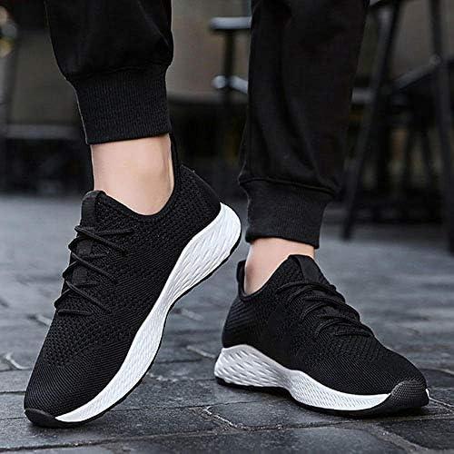 JFHGNJ Respirant Hommes Sneakers Mâle Chaussures Adulte Rouge Noir Gris Haute Qualité Confortable Antidérapant Doux Maille Hommes Chaussures-Noir Blanc_8.5