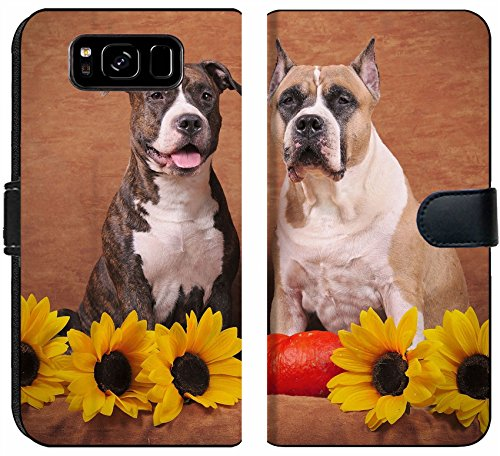 - Samsung Galaxy S8 Flip Fabric Wallet Case Brindle and Fawn American Staffordshire Terriers with Sunflowers and Pumpkin on The bro