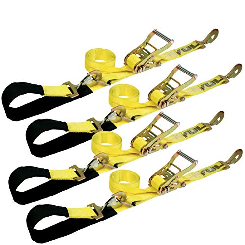 1 Kit Axle - Vulcan Classic Yellow Series 1-Ply Flexible Axle Tie Down Combo Strap w/Snap Hook Ratchet (2'' x 114'' Pack of 4) Safe Working Load - 3,300 lbs.