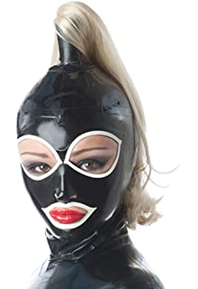 Latex Hood with Double Blond Ponytail Wigs Beautiful Girl Headgear Rubber Mask