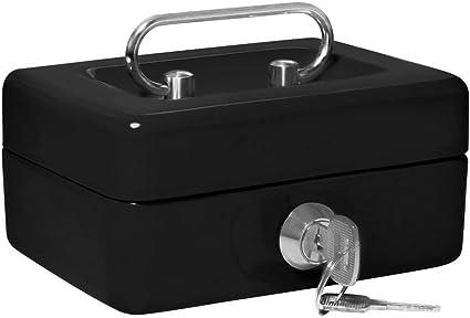 Caja pequeña metálica para guardar dinero, con cerradura y 2 llaves, 15,24 cm, color negro: Amazon.es: Oficina y papelería