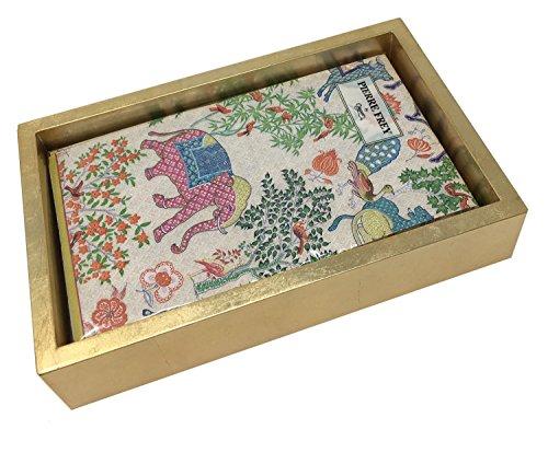 Lacquer Elephant - Caspari 3-Ply Paper Le Jardin De Mysore, 15 Count Guest Towel Napkins with Caspari Gold Lacquer Napkin Holder