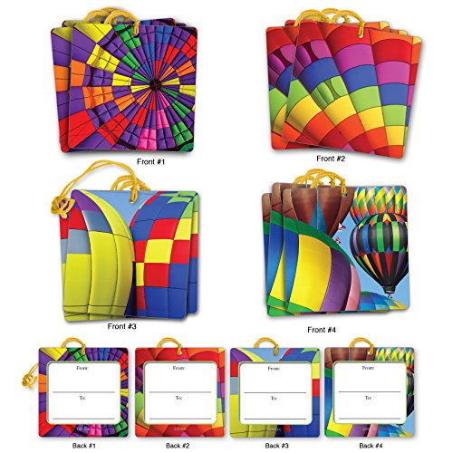 Balloons Gift Tag (G3035 Hot Air: Set of 12 Thank You Themed Gift Tags With Colorful Hot Air Balloon Images,With Attached Cotton String (3 Tags Each of 4 Complementing Designs).)