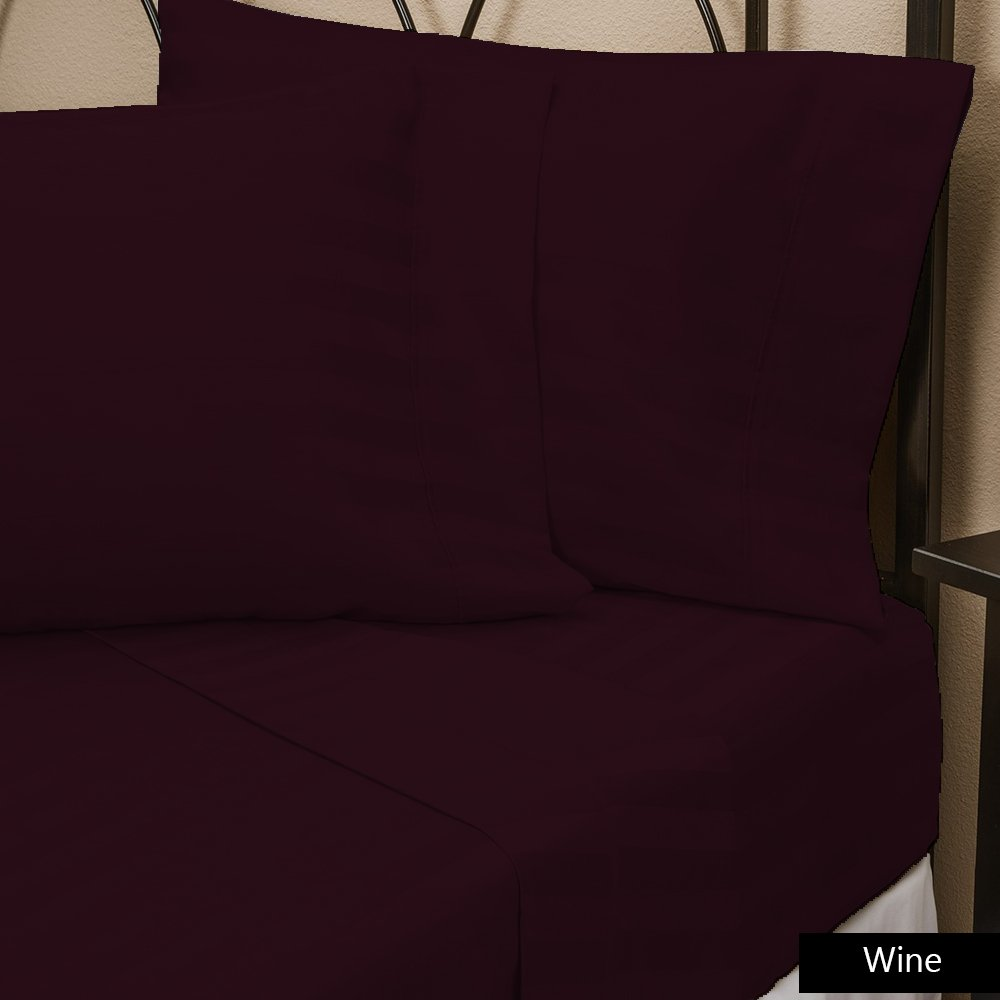 Both Pattern Solid/Stripe 1-Piece- Fitted- Sheet with 20-25 inches Extra Fit Deep Pocket Hotel Finish Adjustable Room 400 Thread Count 100% Pima Cotton (Full , Solid , Burgundy). Scala