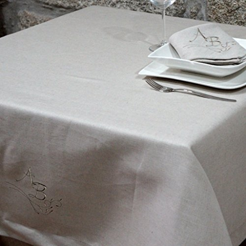 LUXURY PERSONALIZED MONOGRAM LINEN TABLECLOTH - TOP QUALITY - RECTANGLE (59 x 137