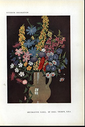 Bouquet Flowers Natural Beauty Stone Vase 1918 antique vibrant color print