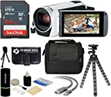Canon VIXIA HF R800 57x Zoom Full HD 1080p Video Camcorder (White) + 64GB Card + Case + Tripod + Digital Camera Cleaning Kit - Complete Accessories Bundle