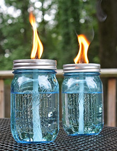 Mason Jar Tiki Torch Kits,4 Pack Regular Mouth Lids,4 Long Life Torch Wicks and Caps Included,Oil Fuel Lamps for Patio Table Top Torch Lantern(No Jar) by Autorch (Image #4)