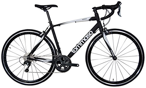 Tommaso Monza Endurance Aluminum Road Bike, Carbon Fork, Shimano Tiagra, 20 Speeds, Aero Wheels - Matte Black - Small ()