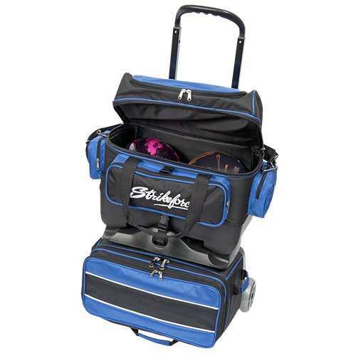 KR Strikeforce Royal Flush 4 Ball Roller Bag, Black/Royal