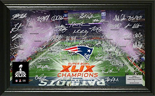 NFL New England Patriots Super Bowl XLIX Champions ''Celebration'' Signature Photo, 21'' x 14'' x 3'', Black by The Highland Mint