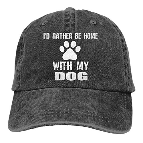 OASCUVER Denim Fabric Adjustable Dog Mom Fashion Baseball Cap (I'd Rather Be Home with My Dog, One Size) -