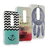 Motorola Moto G (3rd Generation) Case -MOLLYCOOCLE Fashion 3 x Ps Painted PC Ultra Clear Plastic Hard Case Phone Back Skin Shell Cover with Campanula/Wavy Pattern/Sea Anchor Quote for Moto G G3