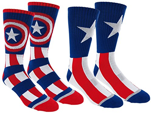 Marvel Mens Captain America Athletic Crew Socks 2 Pair Pack (One Size  Captain Blue)