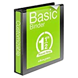 Wilson Jones 1-1/2 Inch 3 Ring Binder, Basic Round Ring View Binder, Black (W362-34B)